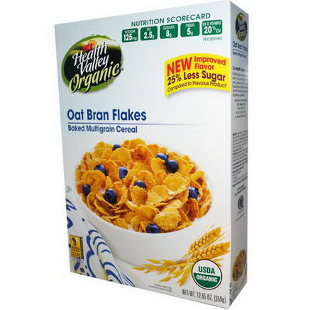 Health Valley, Organic Baked Multigrain Cereal, Oat Bran Flakes, 12.65oz (359g)
