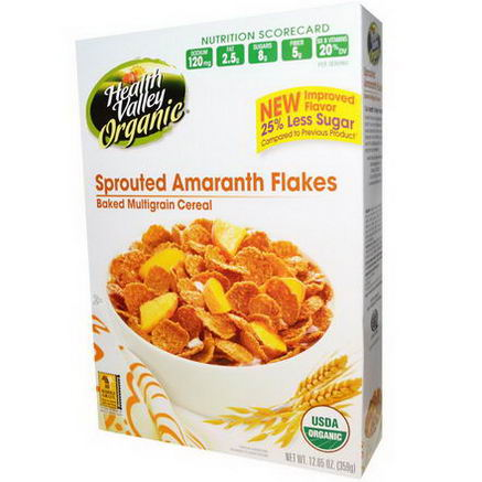 Health Valley, Organic, Baked Multigrain Cereal, Sprouted Amaranth Flakes, 12.65oz (359g)