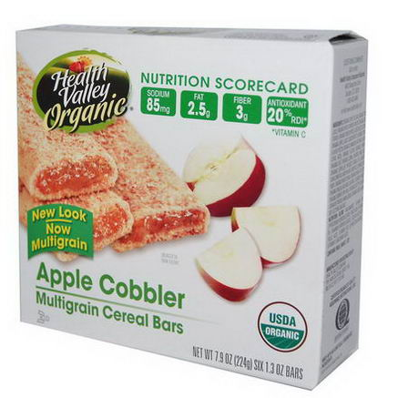 Health Valley, Organic Multigrain Cereal Bars, Apple Cobbler, 6 Bars, 1.3oz Each