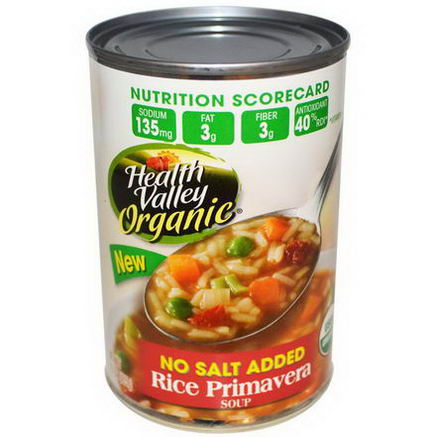 Health Valley, Organic Rice Primavera Soup, No Salt Added, 15oz (425g)