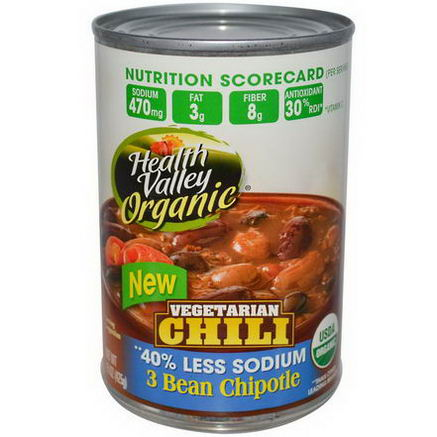 Health Valley, Organic, Vegetarian Chili, 3 Bean Chipotle, Spicy, 15oz (425g)
