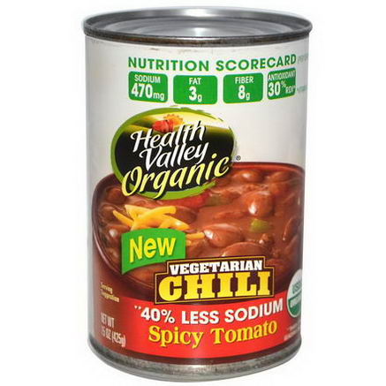 Health Valley, Organic, Vegetarian Chili, Spicy Tomato, 15oz (425g)