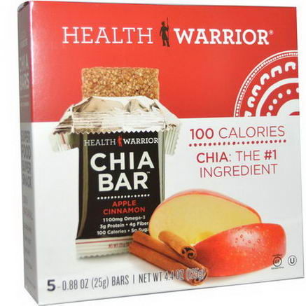Health Warrior, Inc. Chia Bars, Apple Cinnamon, 5 Bars, 0.88oz (25g) Each