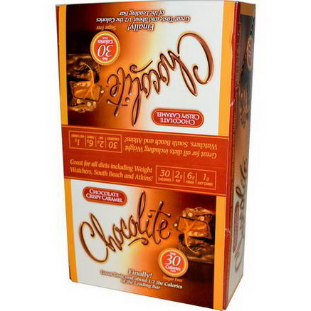 HealthSmart Foods, Inc. Chocolite, Chocolate Crispy Caramel, 16 Count, 84oz (24g) Each