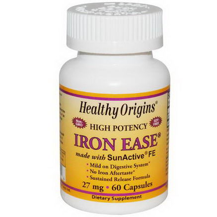 Healthy Origins, Iron Ease, 27mg, 60 Capsules