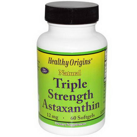 Healthy Origins, Natural Triple Strength Astaxanthin, 12mg, 60 Softgels