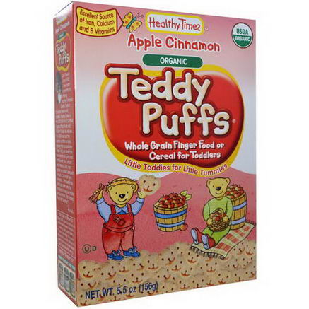 Healthy Times, Organic Teddy Puffs, Apple Cinnamon, 5.5oz (156g)