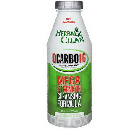 Herbal Clean, QCarbo16, With Eliminex, Green Apple - Cranberry Flavor, 16 fl oz (473 ml)