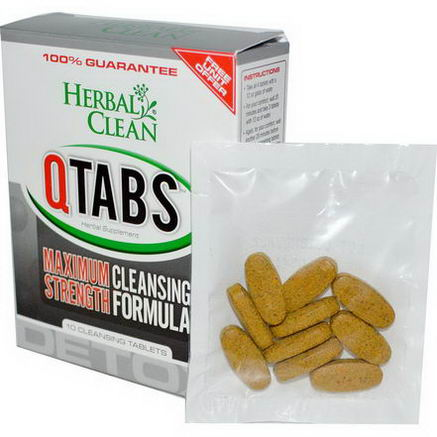 Herbal Clean, QTabs, Maximum Strength Cleansing Formula, 10 Cleansing Tablets