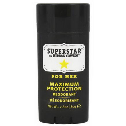 Herban Cowboy, Maximum Protection Deodorant, For Her, Superstar, 2.8oz (80g)