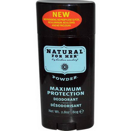 Herban Cowboy, Natural for Her, Maximum Protection Deodorant, Powder, 2.8oz (80g)