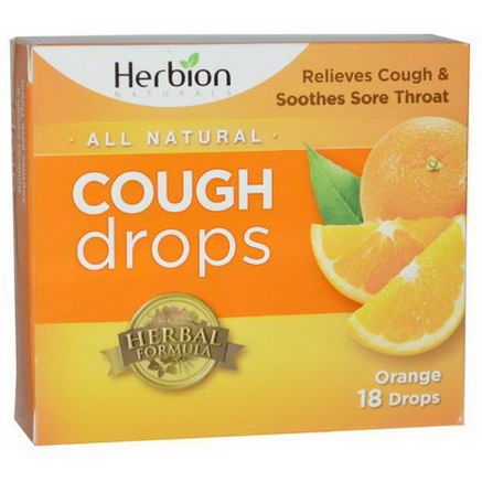 Herbion, Naturals, Cough Drops, Orange, 18 Drops