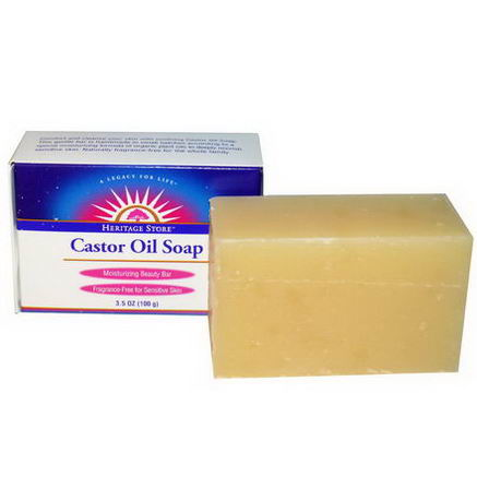 Heritage Products, Castor Oil Soap, Moisturizing Beauty Bar, 3.5oz (100g)