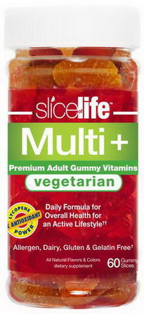 Hero Nutritional Products, Slice of Life Vegetarian Multi +, Premium Adult Gummy Vitamin, 60 Gummy Slices