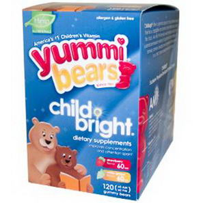Hero Nutritional Products, Yummi Bears, ChildBright, Strawberry & White Grape Flavors, (60 AM - 60 PM) 120 Gummy Bears