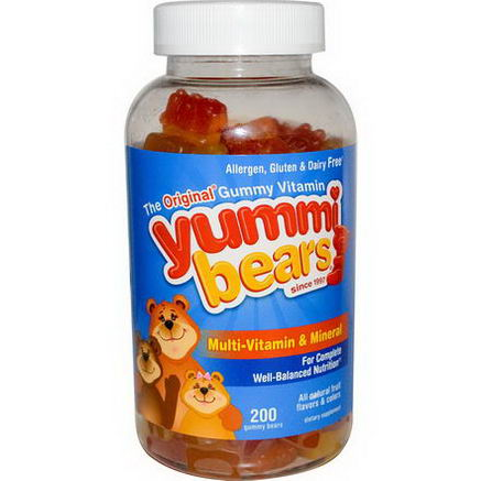 Hero Nutritional Products, Yummi Bears Multi-Vitamin & Mineral, Natural Fruit Flavors, 200 Gummy Bears