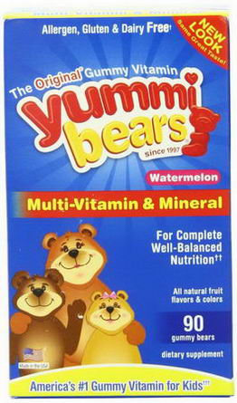 Hero Nutritional Products, Yummi Bears, Multi-Vitamin & Mineral, Watermelon, 90 Gummy Bears