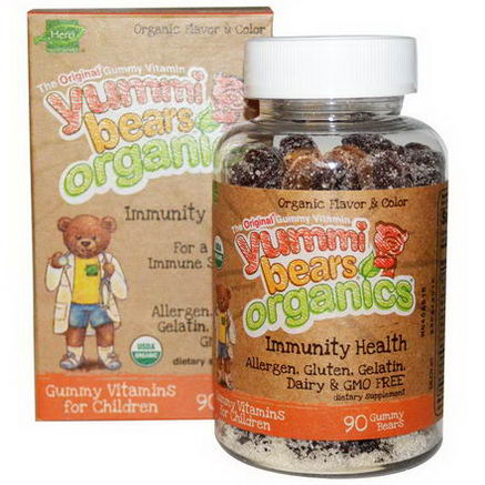 Hero Nutritional Products, Yummi Bears Organics, Immunity Health, 90 Gummy Bears
