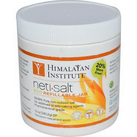 Himalayan Institute, NetiSalt, Eco Refillable Jar, 12oz (340.2g)