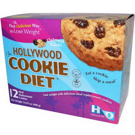 Hollywood Diet, The Hollywood Cookie Diet, Oatmeal Raisin, 12 Meal Replacement Cookies