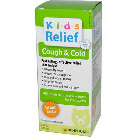 Homeolab USA, Kids Relief, Cough & Cold, For Kids 2+, 3.4 fl oz (100 ml)