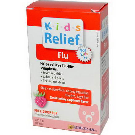 Homeolab USA, Kids Relief, Flu for Kids 2+, Raspberry Flavor, 0.85 fl oz (25 ml)