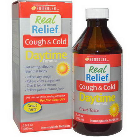 Homeolab USA, Real Relief, Cough & Cold, Daytime Formula, 8.5 fl oz (250 ml)