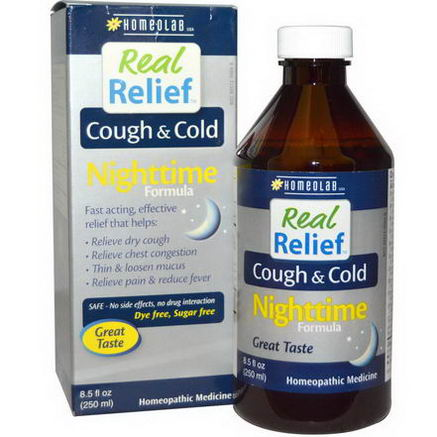 Homeolab USA, Real Relief, Cough & Cold, Nighttime Formula, 8.5 fl oz (250 ml)