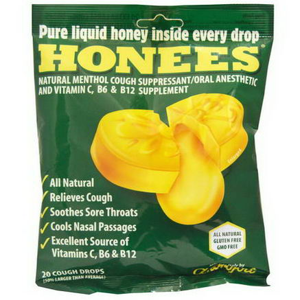 Honees, Menthol Eucalyptus Cough Drops, 20 Cough Drops
