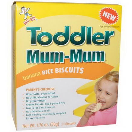Hot Kid, Toddler Mum-Mum, Banana Rice Biscuits, 20 Biscuits, 1.76oz (50g)