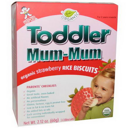 Hot Kid, Toddler Mum-Mum, Organic Strawberry Rice Biscuits, 24 Biscuits, 2.12oz (60g)
