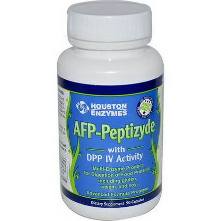 Houston Enzymes, AFP-Peptizyde with DPP IV Activity, with Rice Bran, 90 Capsules