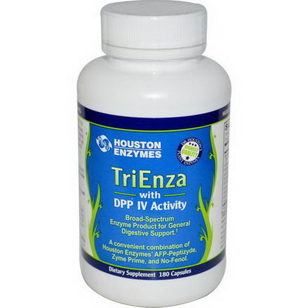 Houston Enzymes, TriEnza with DPP IV Activity, 180 Capsules