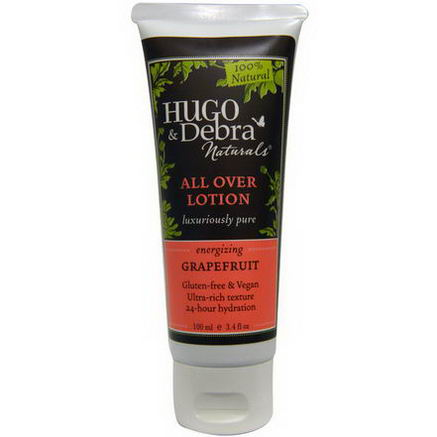 Hugo Naturals, All Over Lotion, Energizing, Grapefruit, 3.4 fl oz (100 ml)