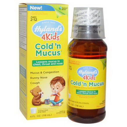 Hyland's, 4 Kids, Cold 'n Mucus, 4 fl oz (118 ml)