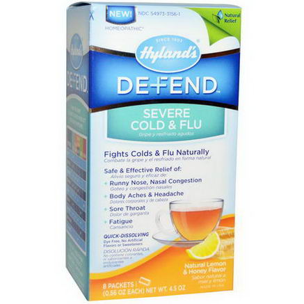 Hyland's, Defend, Serve Cold & Flu, Natural Lemon & Honey Flavor, 8 Packets, 0.56oz Each