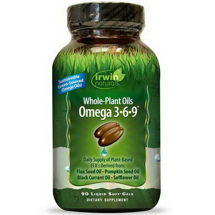 Irwin Naturals, Whole-Plant Oils Omega 3-6-9, 90 Liquid Soft-Gels