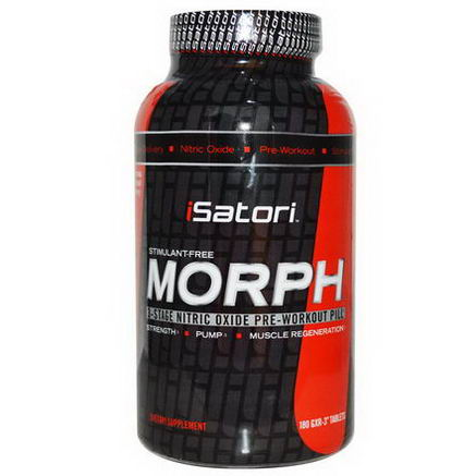 Isatori, Morph Stimulant-Free, 3 Stage Nitric Oxide Pre-Workout Pill, 180 GXR-3 Tablets