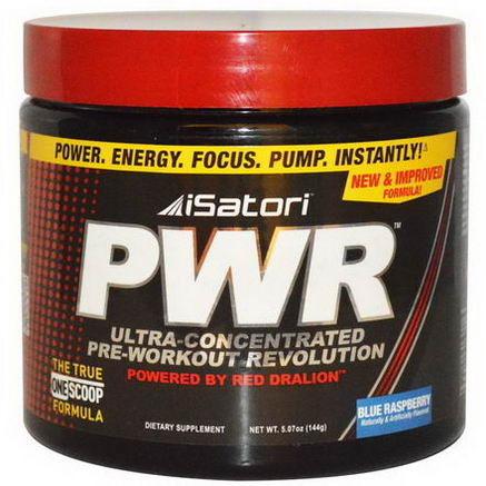 Isatori, PWR Ultra-Concentrated Pre-Workout Revolution, Blue Raspberry, 5.07oz (144g)