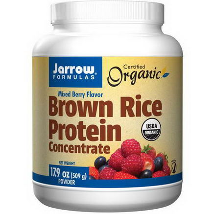 Jarrow Formulas, Certified Organic Brown Rice Protein Concentrate, Mixed Berry Flavor, 17.9oz (509g) Powder