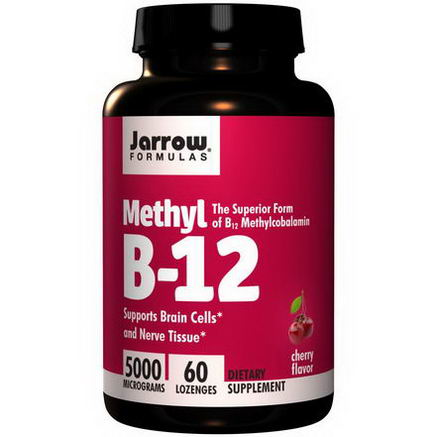 Jarrow Formulas, Methyl B-12, Cherry Flavor, 5000 mcg, 60 Lozenges