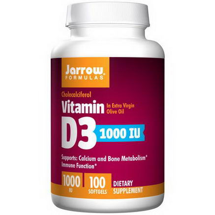 Jarrow Formulas, Vitamin D3, 1000 IU, 100 Softgels