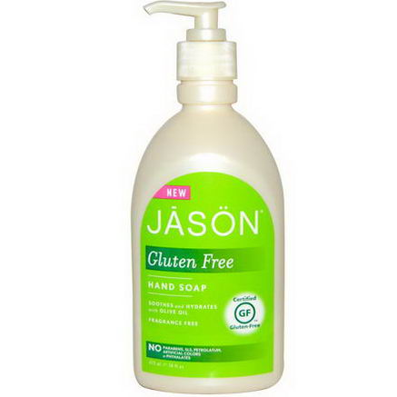 Jason Natural, Gluten Free, Hand Soap, Fragrance Free, 16 fl oz (473 ml)