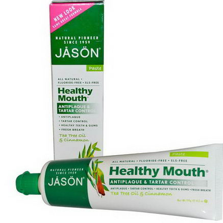 Jason Natural, Healthy Mouth, Antiplaque & Tartar Control Toothpaste, Tea Tree Oil & Cinnamon, 4.2oz (119g)