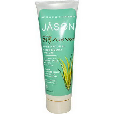 Jason Natural, Pure Natural Hand & Body Lotion, Soothing 84% Aloe Vera, 8oz (227g)