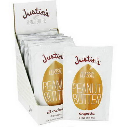 Justin's Nut Butter, Classic Peanut Butter, 10 Squeeze Packs, 1.15oz (32g) Per Pack