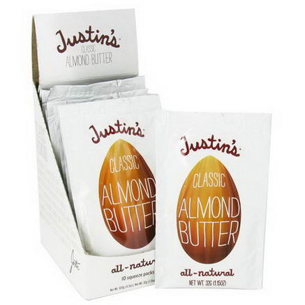 Justin's Nut Butter, Honey Almond Butter, 10 Squeeze Packs, 1.15oz (32g) Each