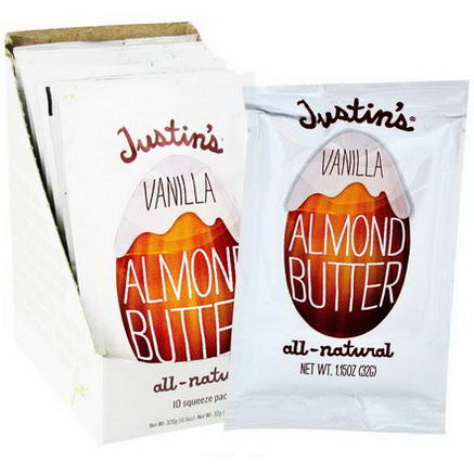 Justin's Nut Butter, Vanilla Almond Butter, 10 Squeeze Packs, 1.15oz (32g) Each