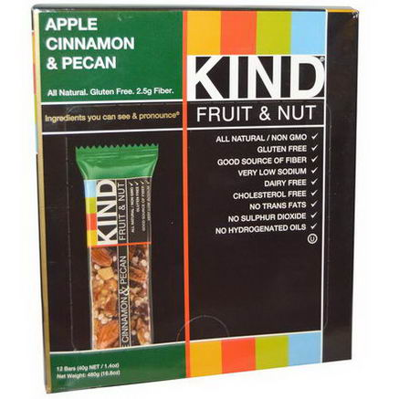 KIND Bars, Fruit & Nut, Apple Cinnamon & Pecan, 12 Bars, 1.4oz (40g) Each