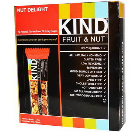 KIND Bars, Fruit & Nut, Nut Delight, 12 Bars, 1.4oz (40g) Each